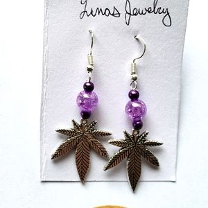 ❤ leaf dangle charm earrings ❤